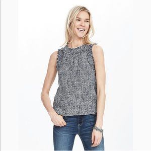 Banana Republic Fringe Tweed Tank Blue White